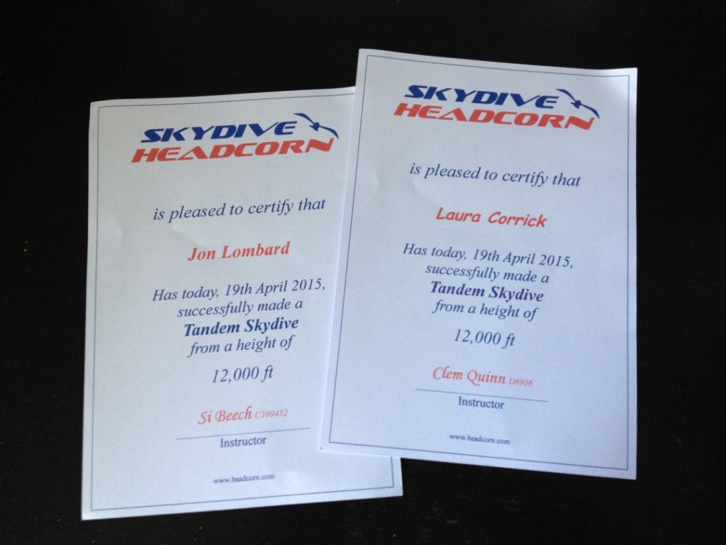 Skydive Certificates