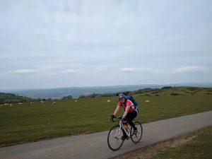Laura training on the bike