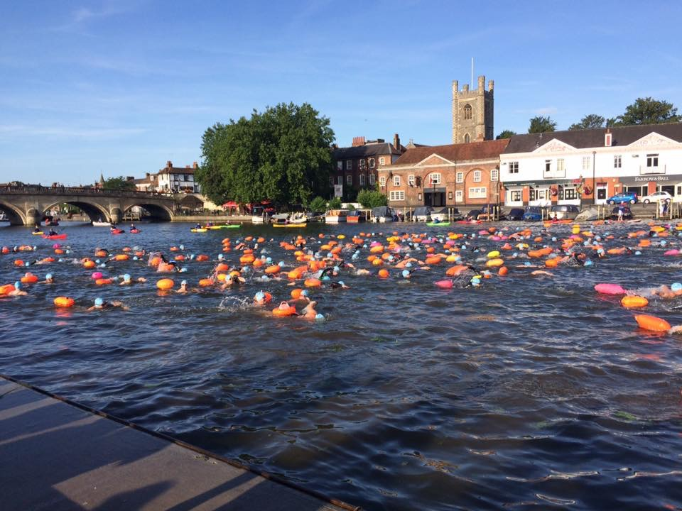 Georgina and Kate swimming Thames Marathon