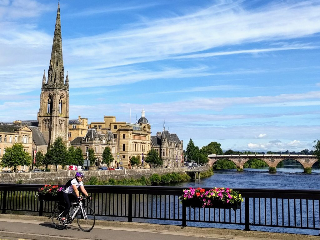 Cycling through Perth, Scotland